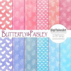 Paisley digital paper Butterfly&Paisley digital by DigiTalesArt