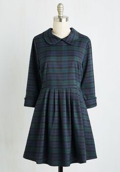 Blast from the Classic Dress by Kling - Blue, Green, Plaid, Print, Casual, Vintage Inspired, Scholastic/Collegiate, Fit & Flare, 3/4 Sleeve, Fall, Woven, Better, Mid-length