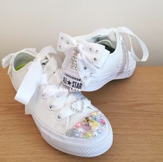 1ab4ee93792ab9 Adults White Little Mermaid Ariel and Flounder High Top Converse ...