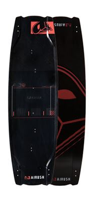 Black and red Airush kite board