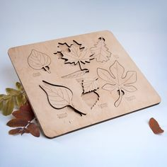 Wooden puzzle leaves, wooden leaf puzzle, wooden puzzle, gift for kids, plywood leaves, leaf puzzle by iWouldWood on Etsy