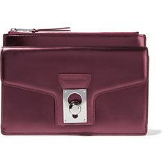 Karl Lagerfeld Metallic leather pouch ($68) ❤ liked on Polyvore featuring bags, handbags, clutches, plum, leather clutches, leather purses, zipper pouch, zip pouch and purple leather handbag