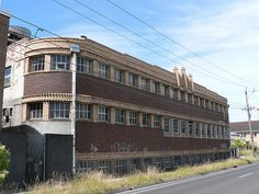 Old Factory, Art Deco - Cross Street, West Footscray. Now transformed into apartments. Shop Buildings, Art Deco Buildings, Melbourne Victoria, Victoria Australia, Melbourne Architecture, Architecture Design, Abandoned Castles, Abandoned Places, Western Australia