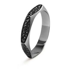 #MelissaKayeJewelry Rhona #ring in #18k black #gold with #diamonds #jewelry #finejewelry #blackgold #blackdiamonds #fashion #style