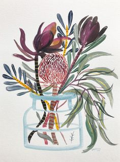 Natives in Glass Jar no. 1 by Sally Browne Art And Illustration, Floral Illustrations, Kunst Inspo, Art Inspo, Art Floral, Australian Flowers, Australian Art, Kunst Poster, Botanical Art