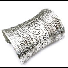 Turkish Antique Silver Cuff Bracelet Beautiful Large Antique Silver Cuff. Great piece to layer for Free People/Wild of Child Bohemian flare. Free People Jewelry Bracelets