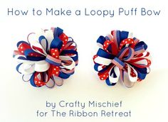 ADD PONY BEADS RANDOMLY ON THE LOOPS OF SOLID COLOR.RIBBONS follow tutorial otherwise. How to Make a Loopy Puff Bow - The Ribbon Retreat Blog