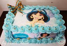 Bolo de Princesa modelo Jasmine decorado com chantilly Jasmine Birthday Cake, Aladdin Birthday Party, Birthday Sheet Cakes, Princess Birthday, Birthday Fun, Birthday Party Themes, Marie Youtube, Princess Jasmine Cake, Jasmin Party