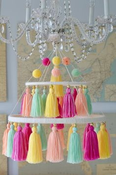 Look at this amazing modern girls room - what a creative style and design Handmade Chandelier, Diy Chandelier, Pom Pom Crafts, Yarn Crafts, Diy Room Decor, Nursery Decor, Nursery Chandelier, Easter Crafts For Kids, Craft Stick Crafts