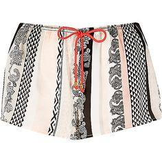 White paisley print pyjama shorts