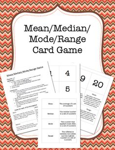 This card game is an excellent way to have kids practice their understanding of Mean, Median, Mode and Range.  Number cards, definitions of mean, median, mode and range, and easy directions are all included. Fifth Grade Math, Sixth Grade, Fourth Grade, Fun Math Games, Math Activities, Elementary Math, Kindergarten Math, Mean Median And Mode, Love Teacher