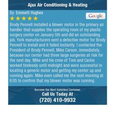 Brody Pennell installed a blower motor in the primary air handler that supplies the...