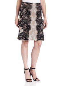 BCBGMAXAZRIA Womens Karlie Relief Jacquard Lace A-Line Skirt
