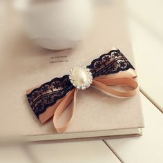 My Colour 100% Handmade Elegant brown satin white lace pearl Hair Accessories Hair Barrette ** Check out this great product.