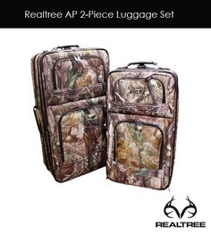 Realtree Ap Camo 2-piece Luggage Set. Dimensions: 28L x 16W x 10D, 24L x 15W x 8D