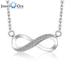Brand 8-Shaped Necklaces & Pendants Women Infinity 925 Sterling Silver Pendant Necklace (JewelOra NE100709)  #rings #bracelets #weddingjewelry #jewellery #jewelrysets