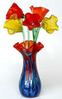 Blown glass flowers