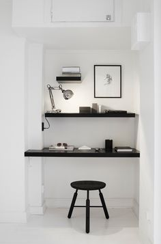 simple office space with shelf