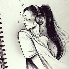 C-Cassandra Character Design Music Drawings, Pencil Art Drawings, Cute Drawings, Amazing Drawings, Amazing Art, C Cassandra, Girl Drawing Sketches, Girl Sketch, Cartoon Kunst