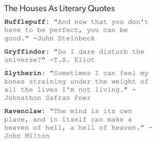 Hogwarts houses as literary quotes