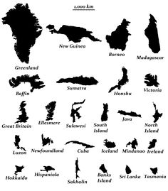 The 26 Largest Islands in the World, Fuller projection. (Australia is classified as a continent rather than an island) Greenland… Island Map, Big Island, Borneo, Ellesmere Island, World Geography, Teaching Geography, Human Geography, Historical Maps, Continents