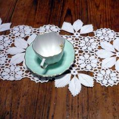 Camino de mesa cosecha Portugués Crochet centro de mesa de