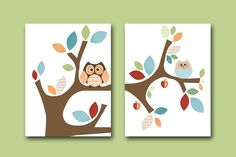 "Baby Print Kids wall art Baby Boy Room Decor owl nursery artwork kids art nursery print set of 2 11""x14"" bird tree owl decor blue green red. $40.00, via Etsy."