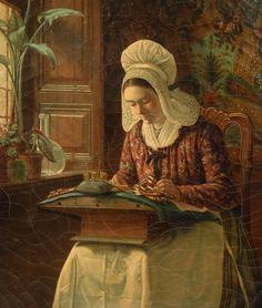 Dentellière à la fenêtre. Huile sur toile 1865 de Jean Daniel STEVENS (belge 1830 - 1880). Musée de la ville de Harderwijk - HOLLANDE