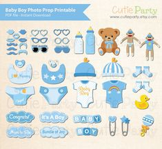 Boy Baby Shower Photo Booth Prop, Baby Shower Photo Booth Prop, Instant Download, Party Printable, 43 ready print images