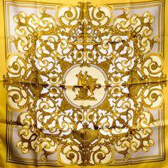 Authentic Vintage Hermes Silk Scarf Les Tuileries Joachim Metz Gold RA – Carre de Paris
