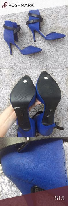 Charlotte Ruuse blue heels Fun great pop of color! Small scuffing shown in last picture. I've worn it two times, still in great condition. Charlotte Russe Shoes Heels