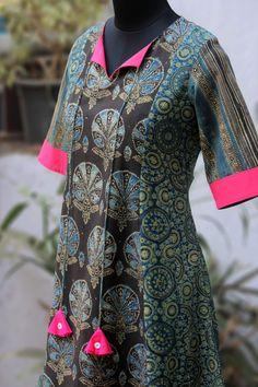 a-line anarkali - indigo halo & the oriental breeze – maati crafts Salwar Designs, Blouse Designs, Salwar Neck Patterns, Fashion Vocabulary, Dress Sewing Patterns, Indian Designer Wear, Latest Fashion For Women, Indian Outfits, Designer Dresses