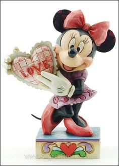 "Heartwood Creek by Jim Shore Disney Traditions  MY VALENTINE  Minnie Mouse with Heart Figure    Measures 4.25""H x 2""W x 3.25""L  Materials : Stone Resin    Your Price: $24.00"