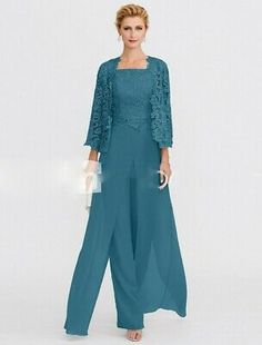 Mother Of the Bride Dresses Pants Suits With Lace Jacket Party Gown 6 8 10 12 14 | eBay