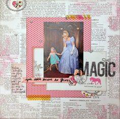 Layout Love Tuesday @ the beautiful ordinary. Disney scrapbooking layout using Pink Paislee Bella Rouge