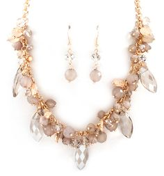 Crystal Cluster Necklace in Champagne on Emma Stine Limited