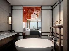 This modern hotel room features a bright orange headboard with hidden lighting, that wraps from behi Chengdu, Trendy Bedroom, Modern Bedroom, Modern Hotel Room, Hidden Lighting, Hotel Canopy, Modern Headboard, Hotel Room Design, Traditional Doors