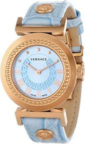 Versace Women's Vanitas Rose Gold Ion-Plated Light Blue Dial Leather Watch Stylish Watches, Luxury Watches, Cool Watches, Watches For Men, Versace Watches, Cheap Watches, Leather Watch Bands, Beautiful Watches, Fashion Watches
