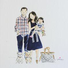 Custom watercolor family portraits - Jennifer Vallez