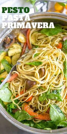 This pasta primavera is for all the veggie lovers!    A combination of vegetables and pasta strands are each coated in a simple pesto sauce to create a simple yet fresh-tasting meal! #pasta #vegetarian #easyrecipe #vegetables #healthyrecipe #healthyeating