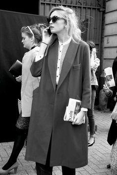 cat-eye sunglasses, collarless button up shirt & long oversized coat #style #fashion #streetstyle