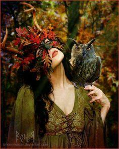 Autumn leaf mask and owl- nature goddess