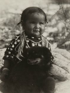 Native American child and dog ~   *Making memories...Take pictures of your children & their pets