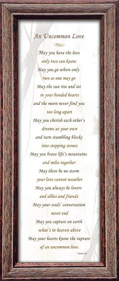 Uncommon Love Wedding Commitment Poem By Heavenandearthworks The Greatest Husband Of All Pinterest
