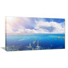 DesignArt Blue Salt Lake under Clouds Photographic Print on Wrapped Canvas Size: