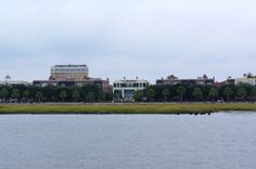 View of Charleston Waterfront Park with the Pineapple Fountain aboard The General Beauregard Harbor Cruise.