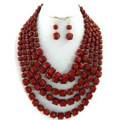 "Burgundy 24"" layered beads necklace set"