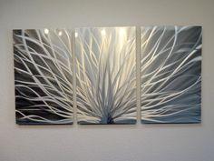 """Metal Wall Art Decor Abstract Contemporary Modern Sculpture Hanging Zen Textured - Radiance Silver 47"""""""