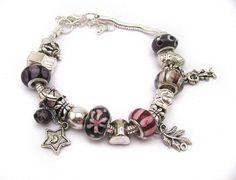 Pandora style charm bracelet Purple Pink silver by Mandyscharms, £10.00