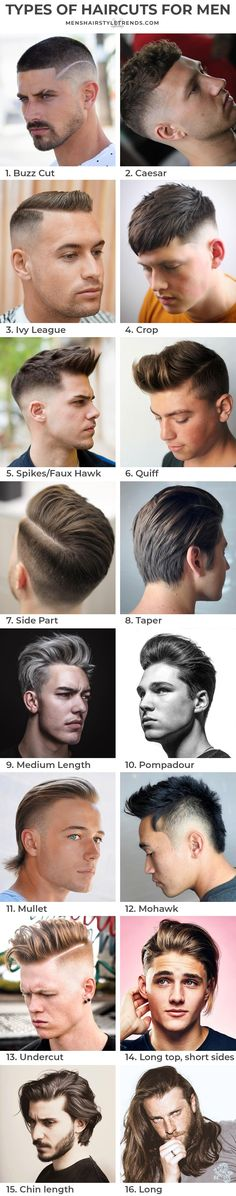 Here all the types of haircuts for men from buzz cut short to man bun long. Types Of Fade Haircut, Short Fade Haircut, Waves Haircut, Textured Haircut, Tapered Haircut, Haircut Styles, Haircut Men, Haircuts For Balding Men, Popular Mens Haircuts